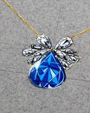 David Mann — Bijoutier à Liège - Croquis création pendentif saphir goutte orné de diamants unique
