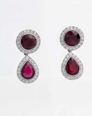 David Mann — Bijoutier à Liège - Boucles d'oreilles rubis diamants gouttes pendants