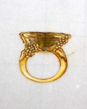 David Mann — Bijoutier à Liège - Bague grappe de raisins serti de diamants dessin réalisation David Mann