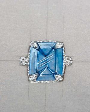 David Mann — Bijoutier à Liège - Projet bague topaze bleue griffes serties de diamants