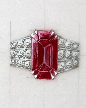 David Mann — Bijoutier à Liège - Bague rubis et corps de bague sertis de diamants brillants