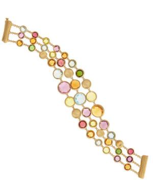David Mann — Bijoutier à Liège - Bracelet Marco Bicego Jaipur 3 rangs or jaune et pierres de couleur