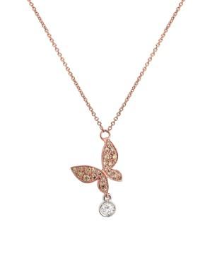David Mann — Bijoutier à Liège - MIMI pendentif I Wish I Could Fly Farfalla or rose et diamants