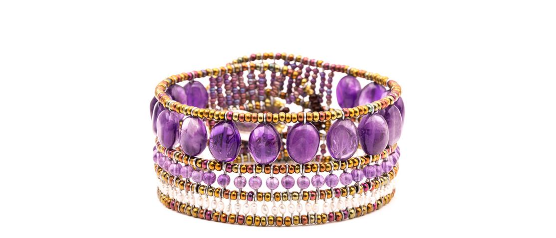 David Mann — Bijoutier à Liège - Bracelet Ziio améthystes perles