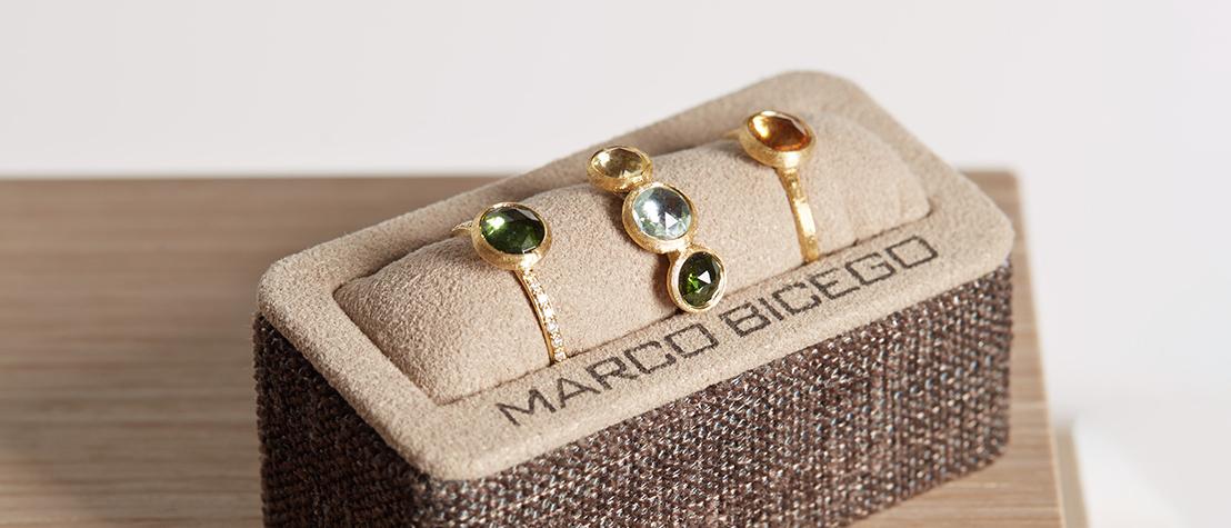 David Mann — Bijoutier à Liège - Bague Marco Bicego Jaipur or jaune et pierres de couleur